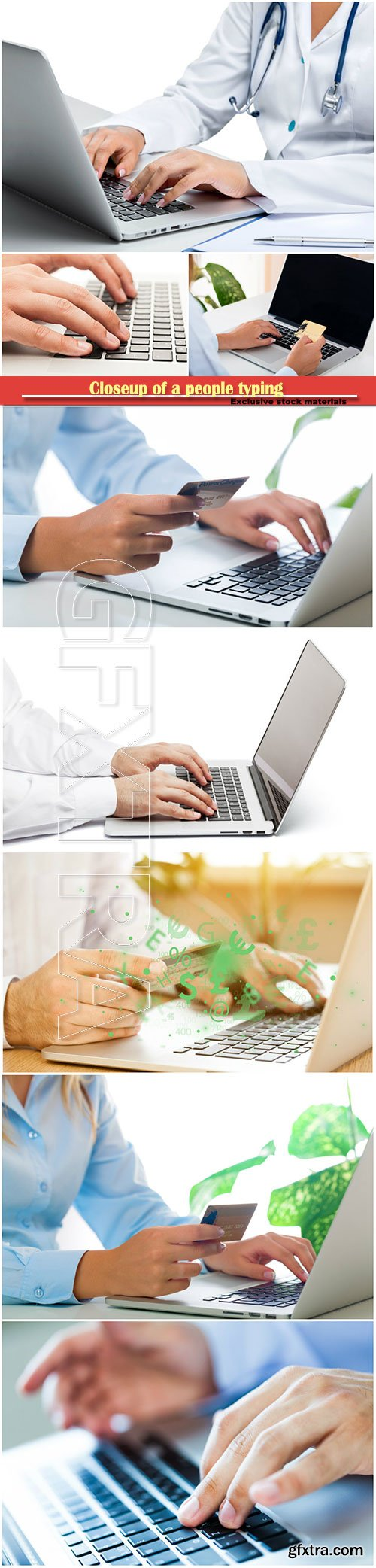 Closeup of a people typing on a laptop and holding a credit card