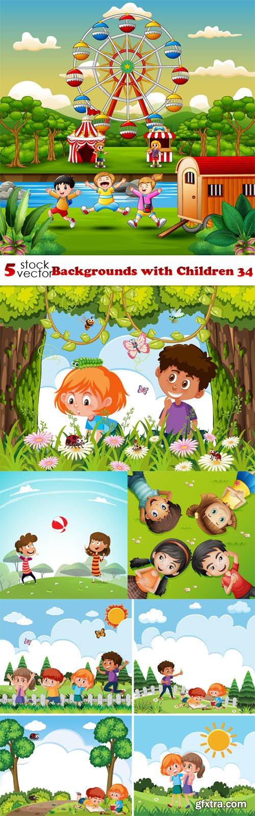 Vectors - Backgrounds with Children 34