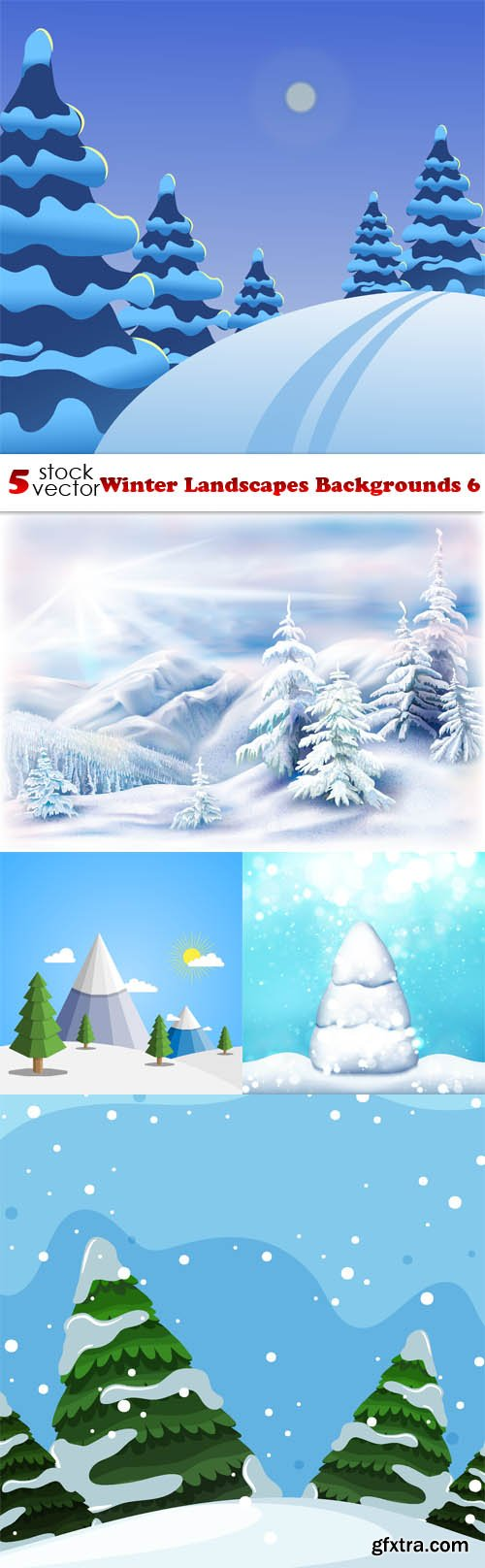 Vectors - Winter Landscapes Backgrounds 6
