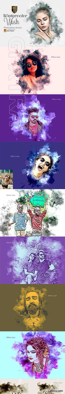 CreativeMarket - Watercolor Wash Photoshop Action 2 3404699