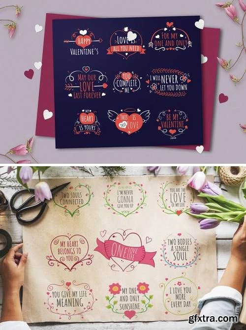 Hand-drawn Valentine\'s Day Badge Collection