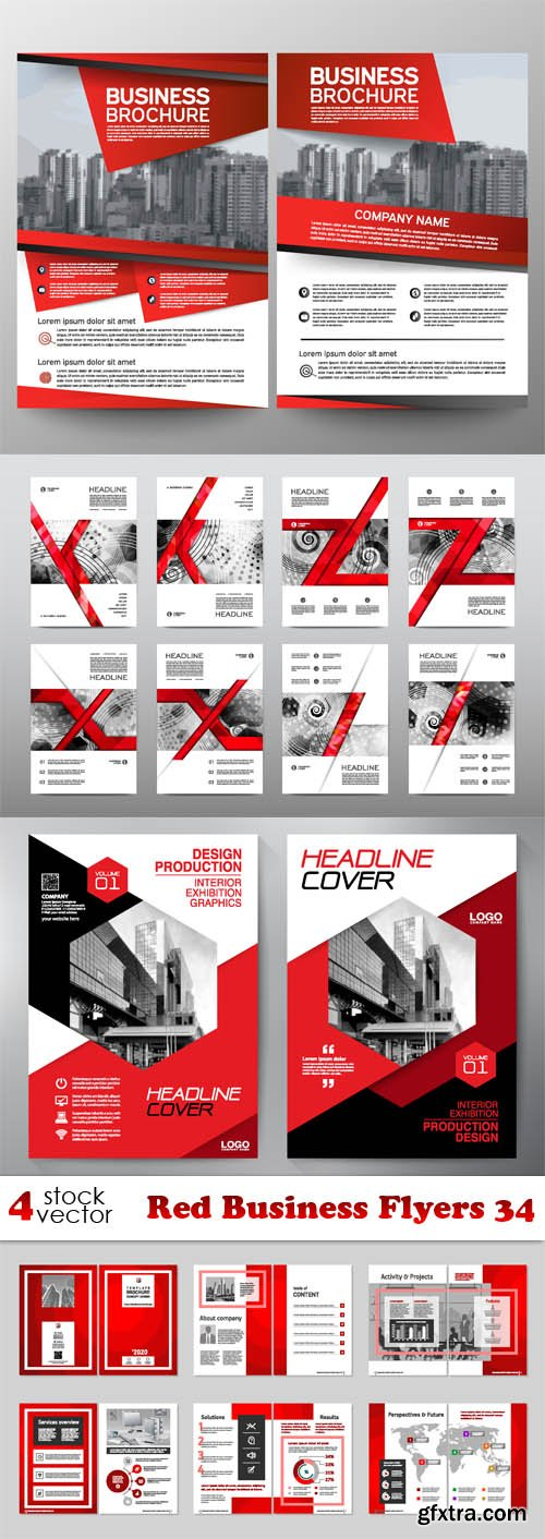 Vectors - Red Business Flyers 34