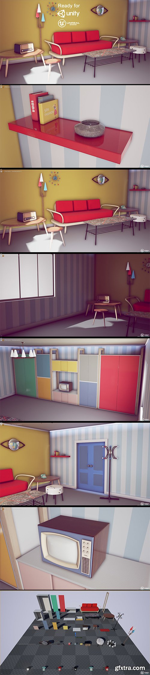 Cubebrush - 50s Vintage Furniture Pack