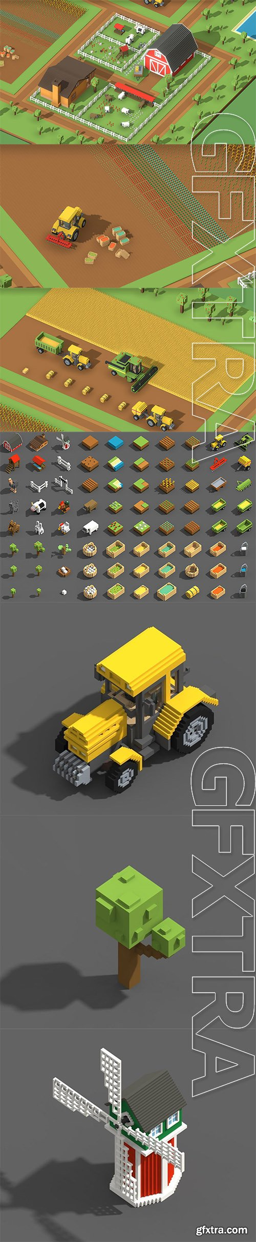 Cgtrader - Voxel Farming Low-poly 3D model