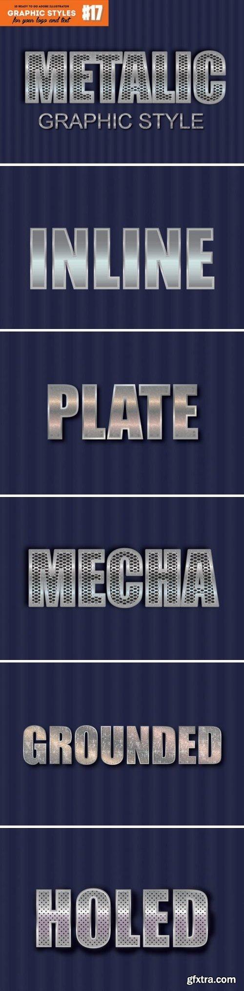 10 Metal / Chrome Graphic Style for Adobe Illustrator