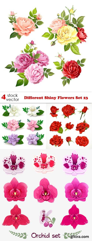 Vectors - Different Shiny Flowers Set 23