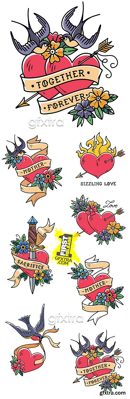 Romantic heart and flowers compositions design tattoo