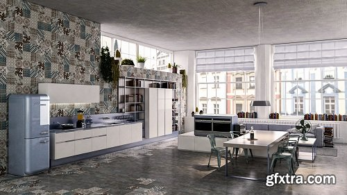 Modern Kitchen 43 3d Model