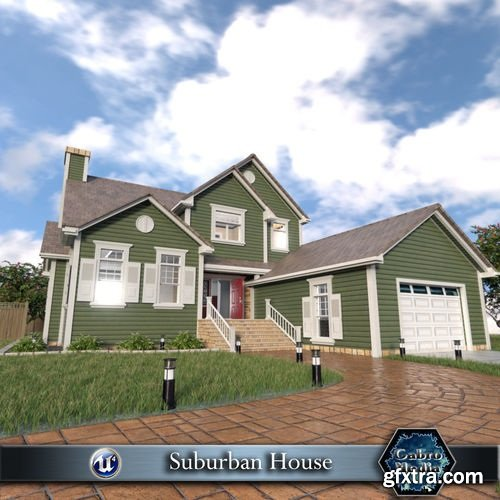 Suburban House Low-poly 3D model