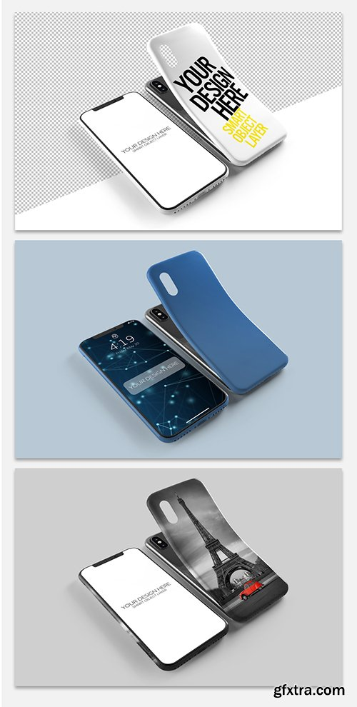 Smartphone Screen and Case Mockup 247664496
