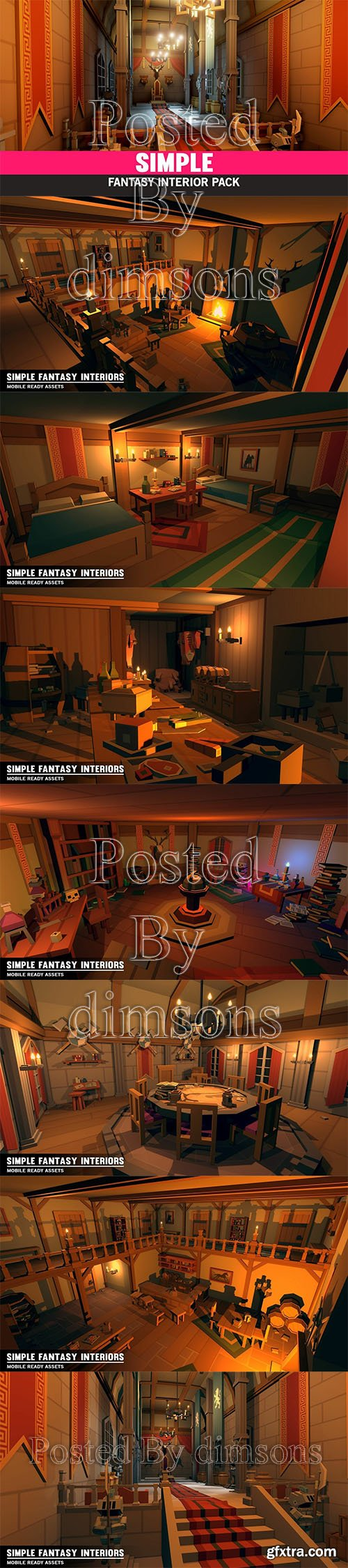Cgtrader - Simple Fantasy Interiors - Cartoon Assets Low-poly 3D model