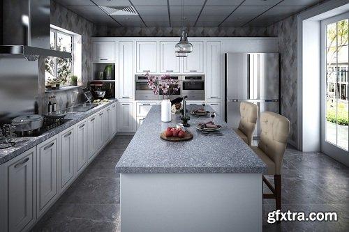 Kitchen & Diningroom Interior Scene