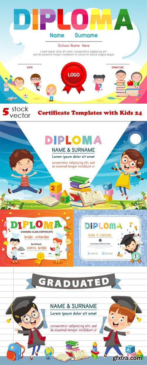Vectors - Certificate Templates with Kids 24