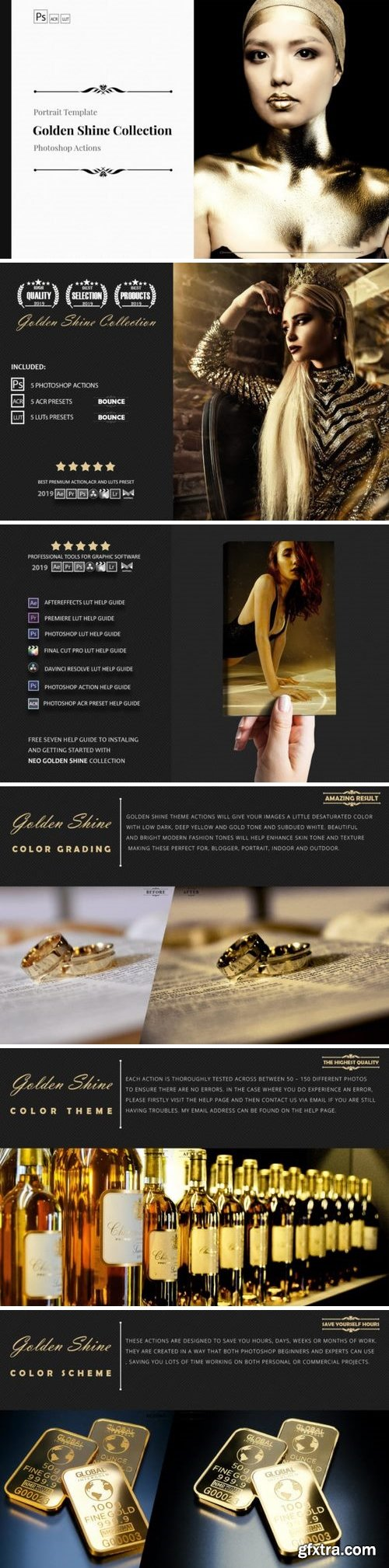 Neo Golden Shine Color grading Photoshop Actions