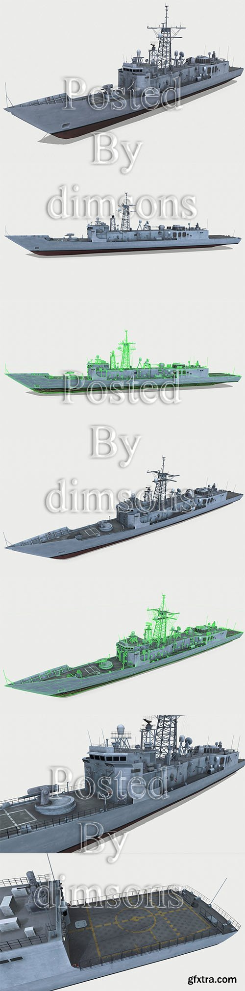 Cgtrader - Oliver Hazard Perry-class frigate Low-poly 3D model