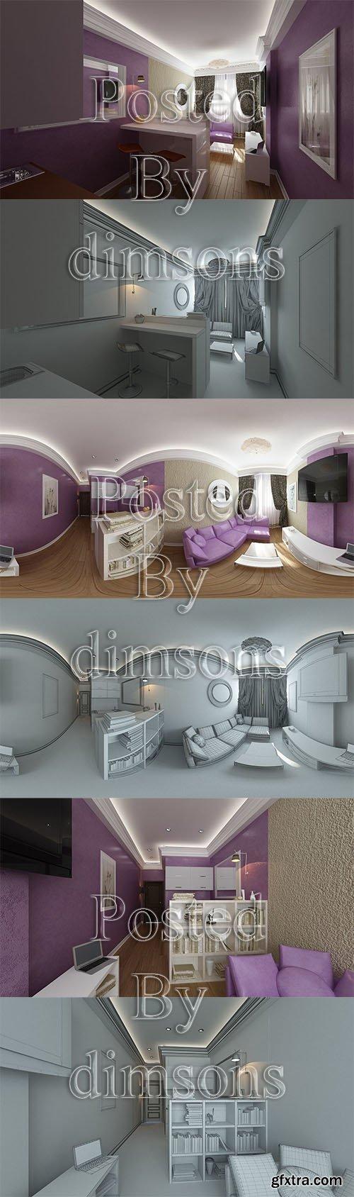 Cgtrader - Pink living room interior 3D model