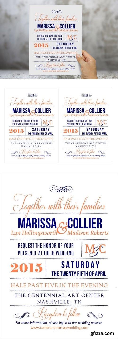 CM - Coral navy Word wedding invitation 204323