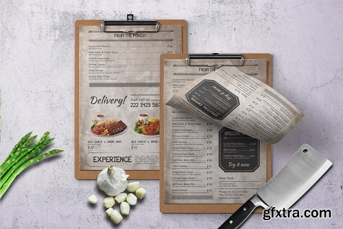 Vintage Single Page Menu Bundle