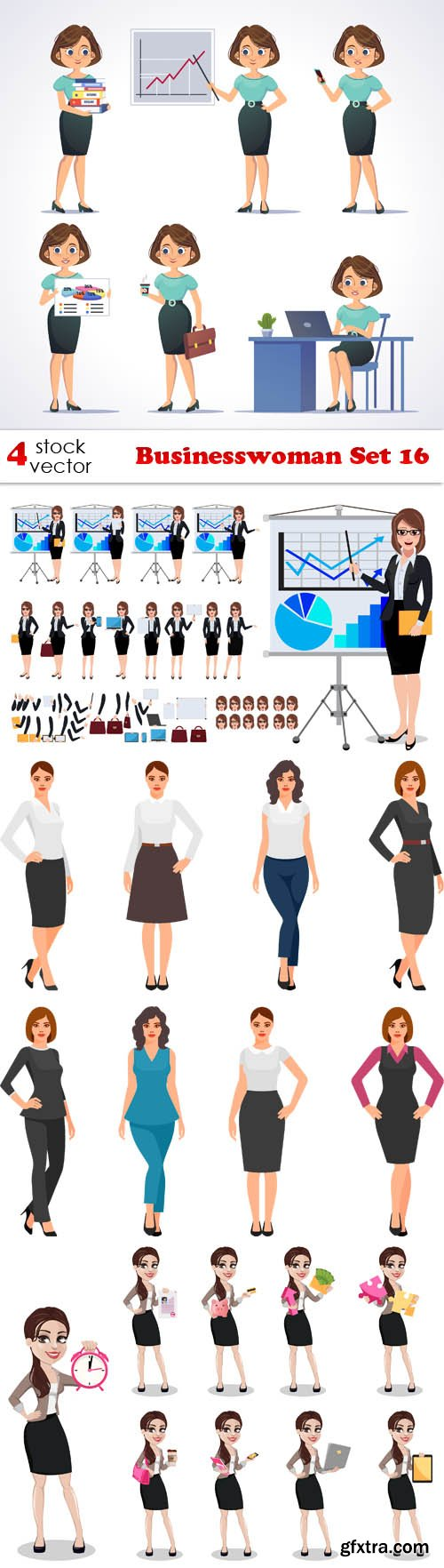Vectors - Businesswoman Set 16