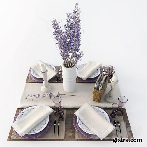 Table setting with lavender