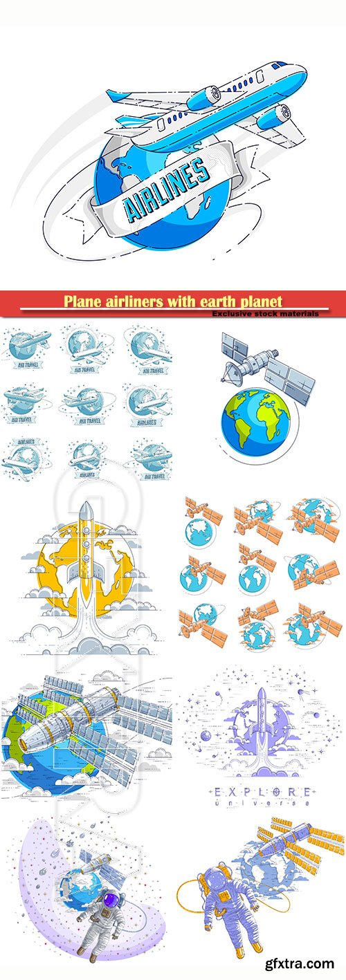 Plane airliners with earth planet and ribbon with typing, airlines air travel emblems or illustrations set