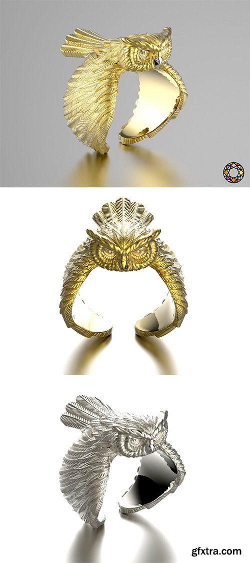 Cgtrader - Owl fashion ring 0156 3D print model