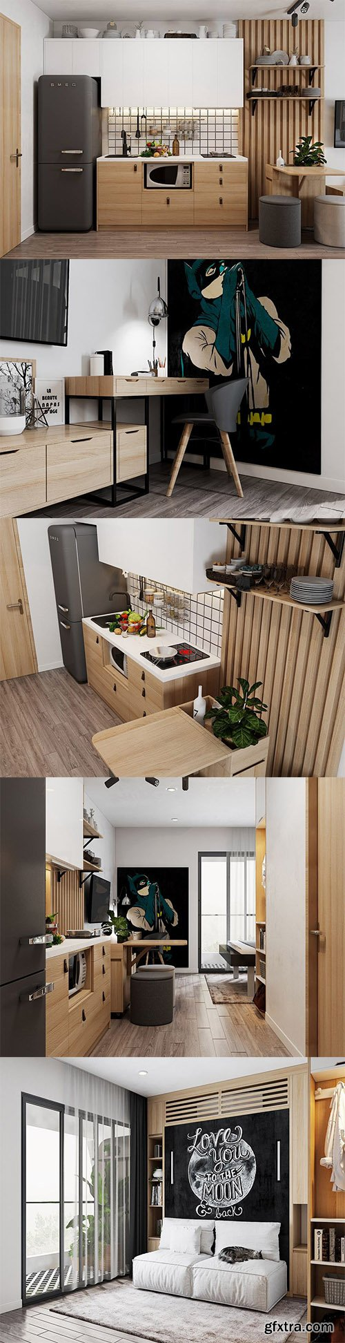 Cgtrader - Small Apartment Scandinavian Design Low-poly 3D model