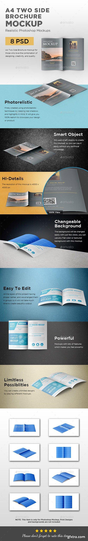A4 Two Side Folded Brochure Mockup