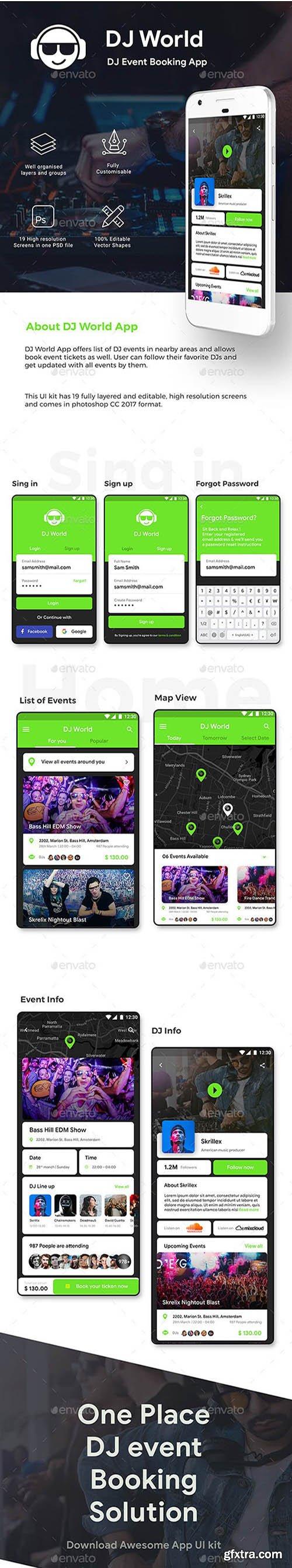 DJ Event Booking App UI Kit | DJ World 23268079
