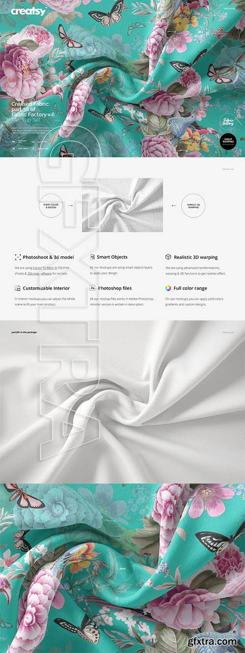 CreativeMarket - Creased Fabric Mockup 38FF v6 3322662