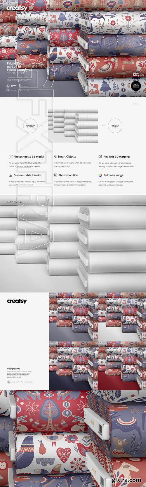 CreativeMarket - Fabric Bolts Mockup 76FF v6 3351144