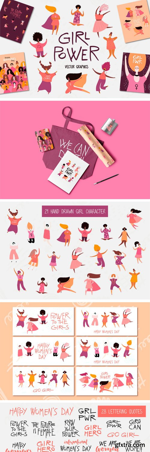 CM - Girl Power Vector Set, Art & Quotes 3436263