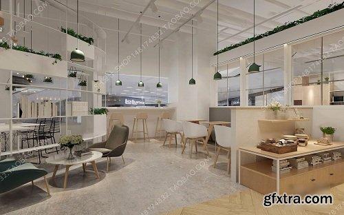 Coffee Tea Shop Interior Scene 01