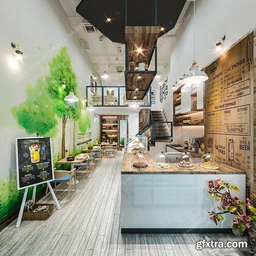 Coffee Tea Shop Interior Scene 03