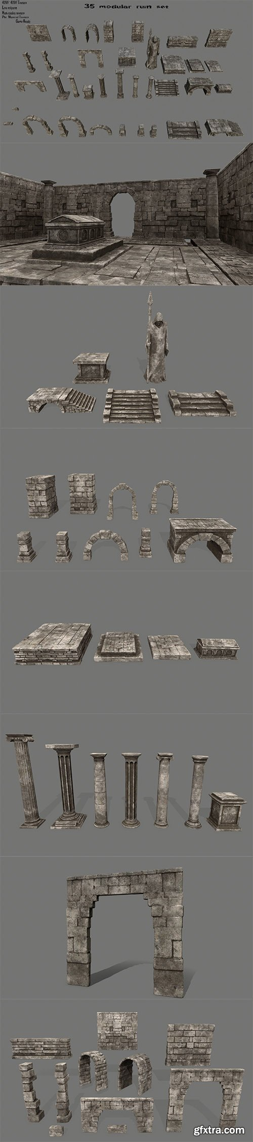 Cgtrader - ruin set 1 Low-poly 3D model