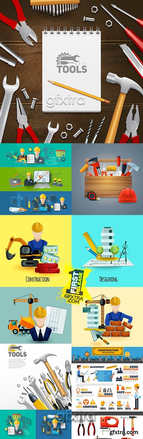 Construction tools and flat icons design illustration