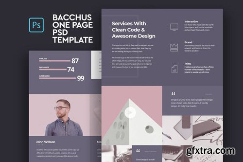 Bacchus - One Page PSD Template