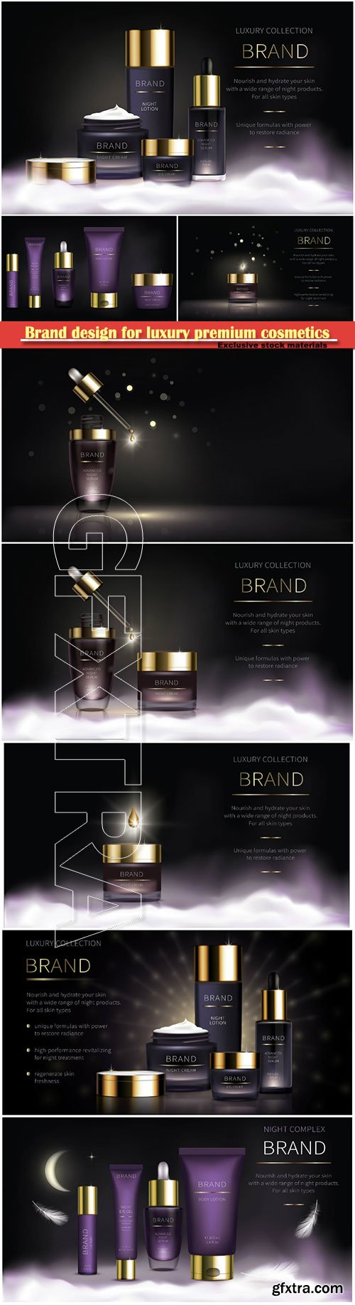 Brand design for luxury premium cosmetics, series for face skin care, realistic vector
