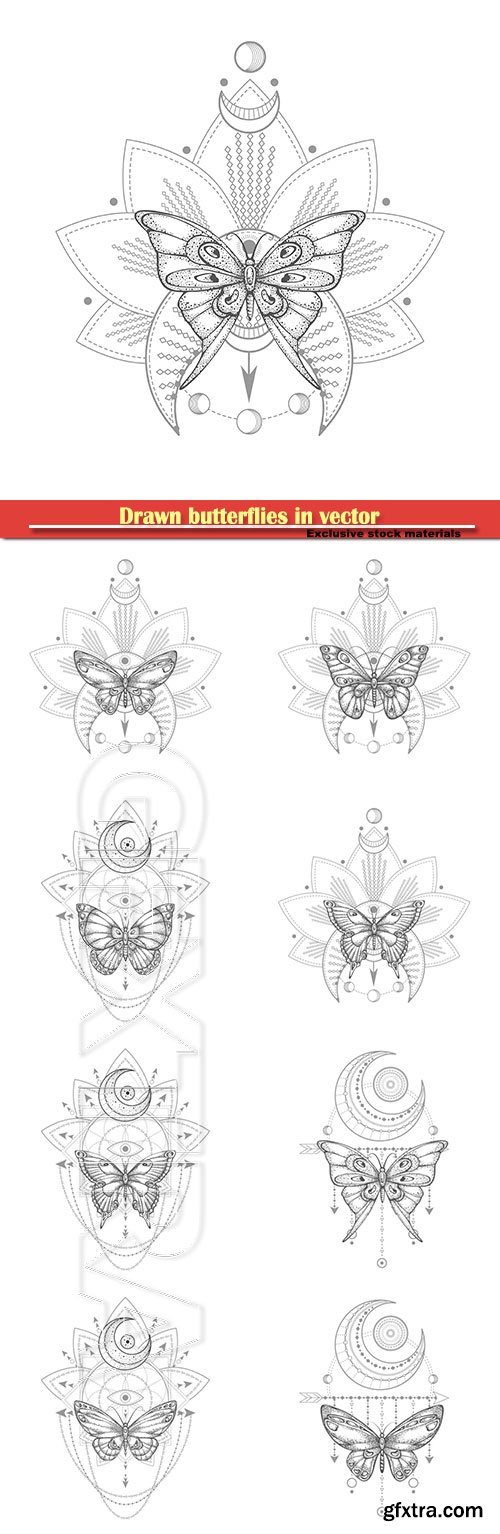 Drawn butterflies in vector, tattoo design