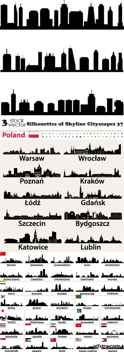 Vectors - Silhouettes of Skyline Cityscapes 37