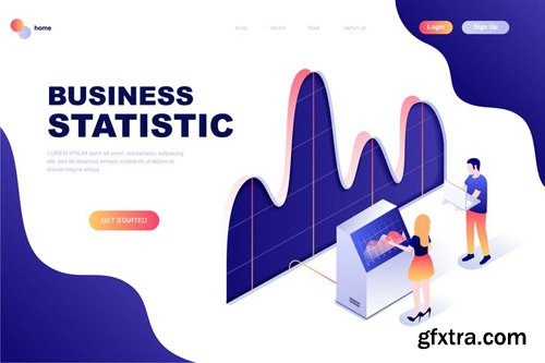 Business Statistic Isometric Landing Page Template
