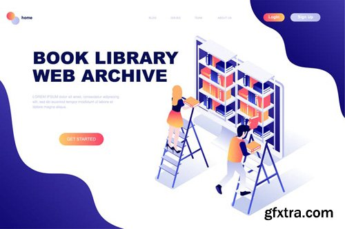 Book Library Isometric Landing Page Template