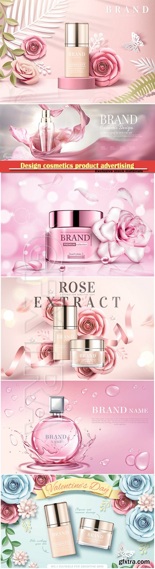 Design cosmetics product advertising in 3d vector illustration