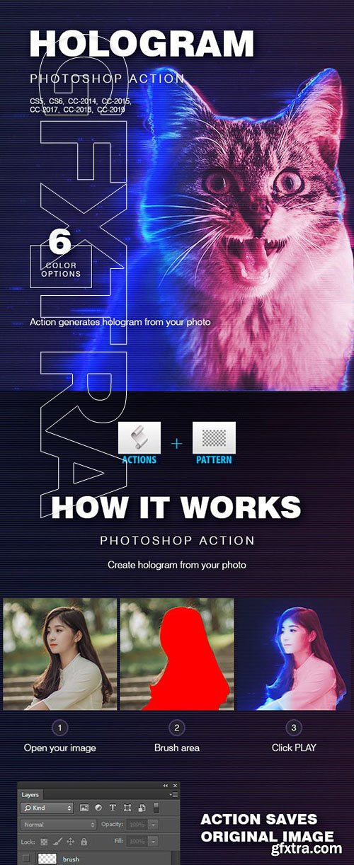 GraphicRiver - Hologram Photoshop Action 23245002