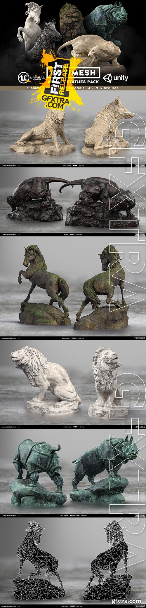 Cgtrader - Animal Statues 3D PBR Pack lion puma rhino boar horse Low-poly 3D model