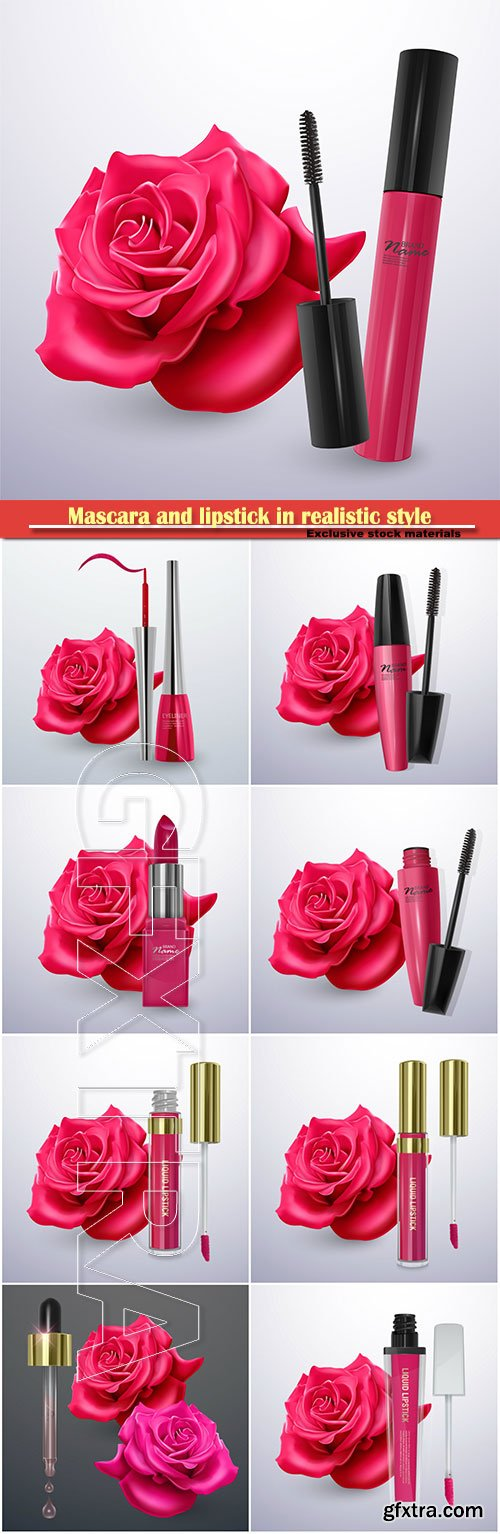 Mascara and lipstick in realistic style on red rose vector background