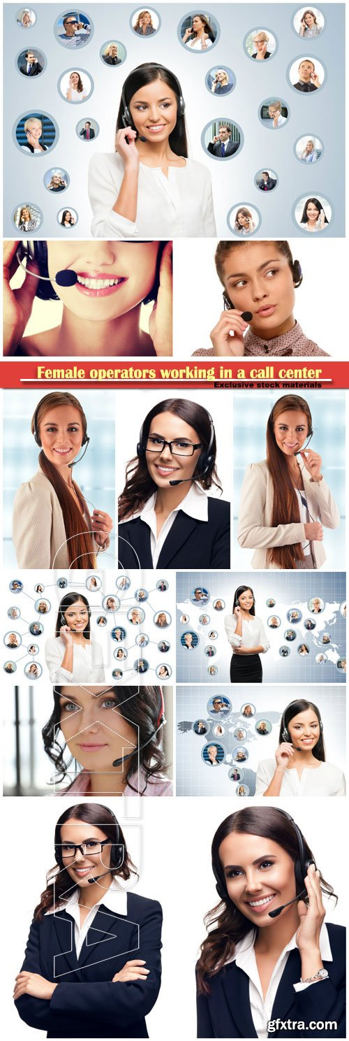 Female operators working in a call center