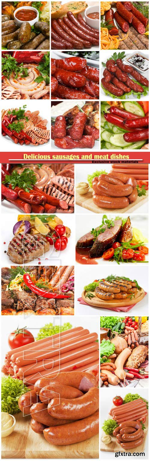 Delicious sausages and meat dishes