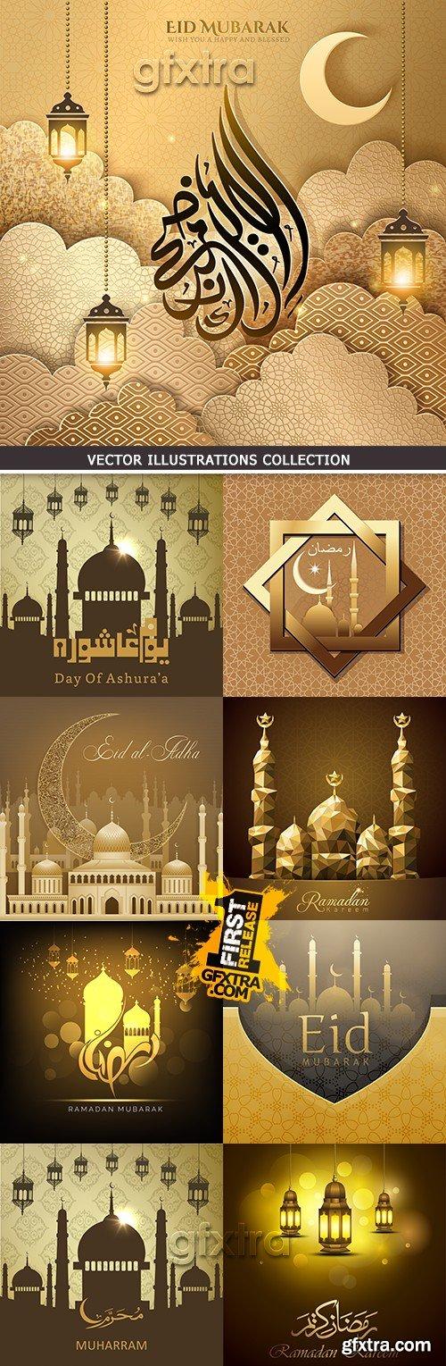Ramadan Kareem muslim culture collection illustrations