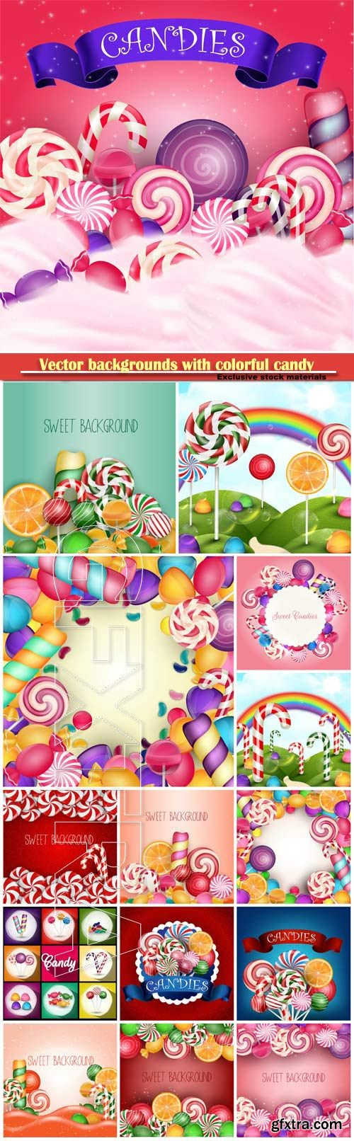Vector backgrounds with colorful candy